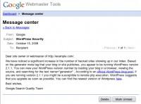 Aviso Google WebmasterTools