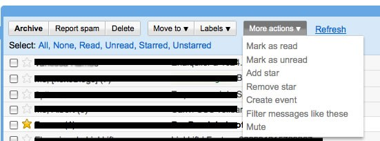 Gmail, barra acciones