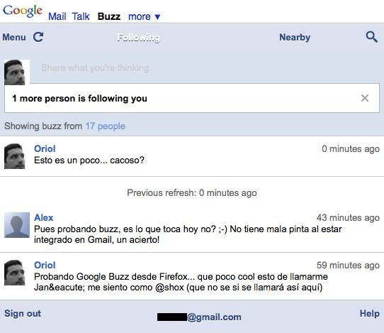 Google Buzz en Firefox